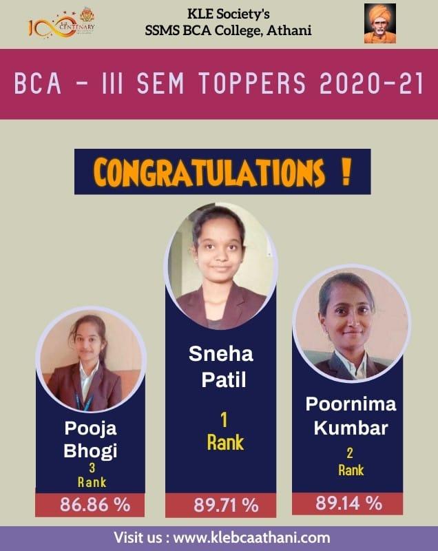 BCA-III Sem Toppers 2020-21